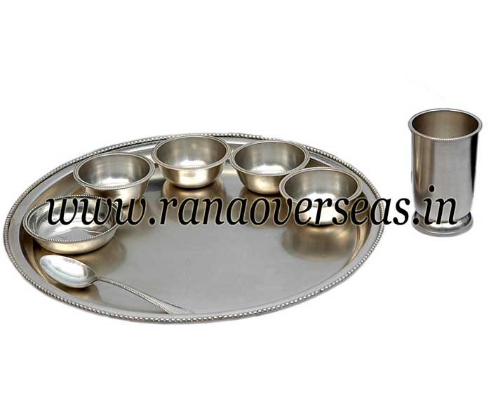 SILVER PLATED THALI SET