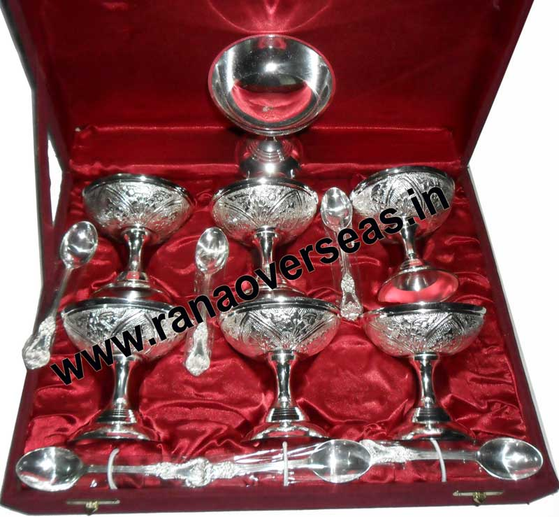 SILVER PLATED ICE CREAM BOWL SET