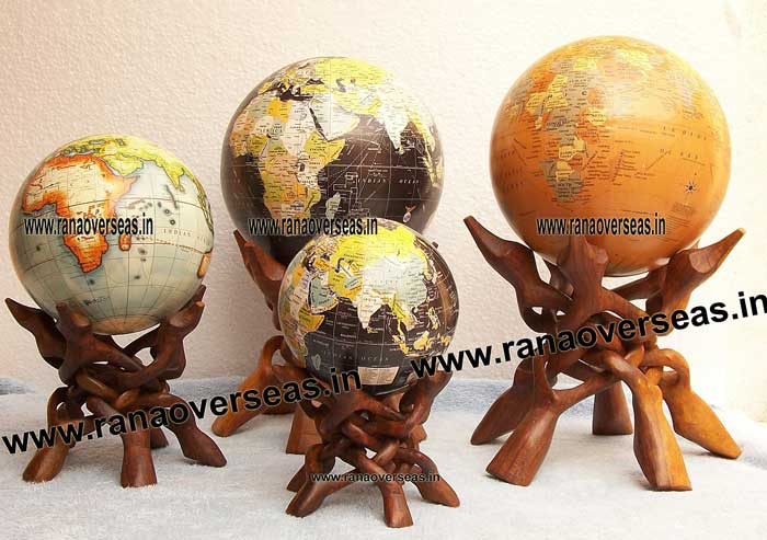 World Globe With Wooden Five Leg Display Stands